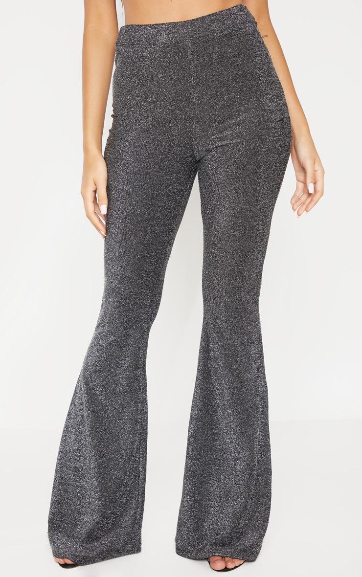 Silver Glitter Wide Leg Pants 2