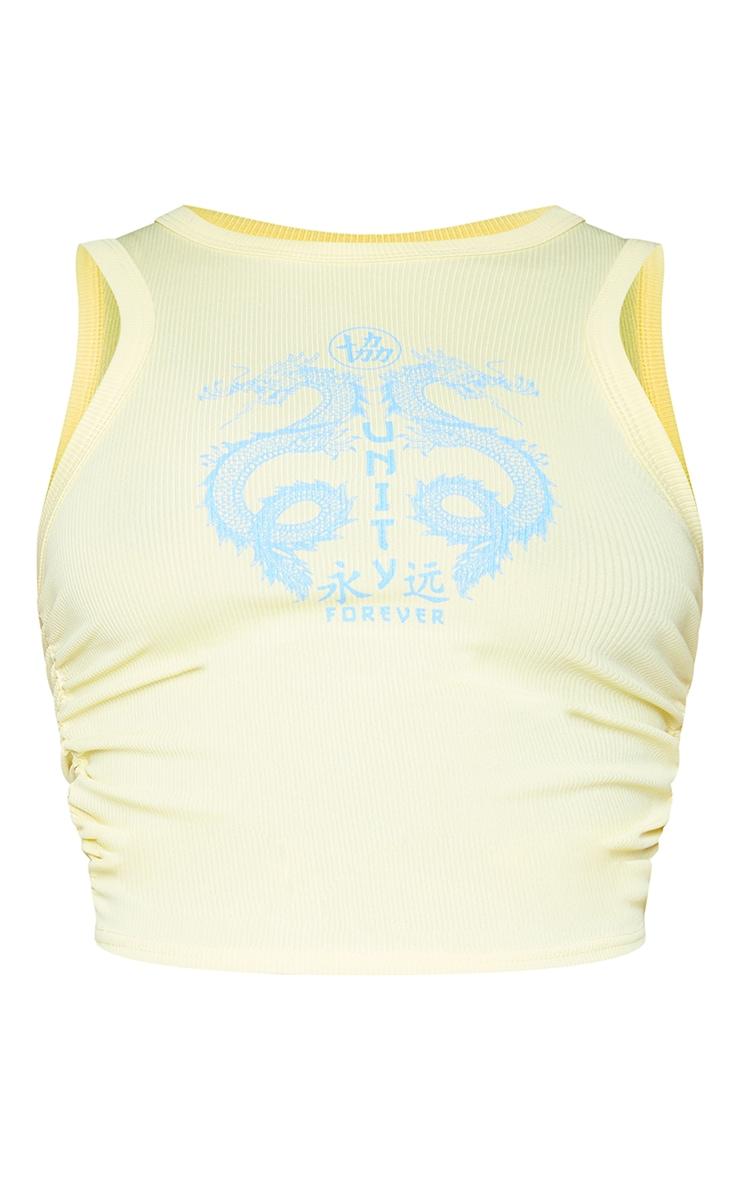 Lemon Dragon Print Rib Ruched Side Crop Vest 5
