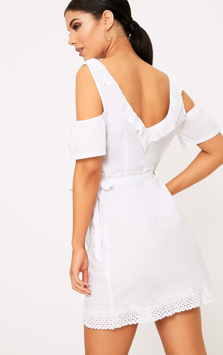 White Broderie Anglaise Cold Shoulder Shift Dress 2