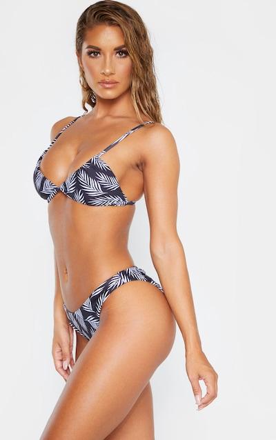 Black/White Leaf Textured Stripe Bikini Bottom