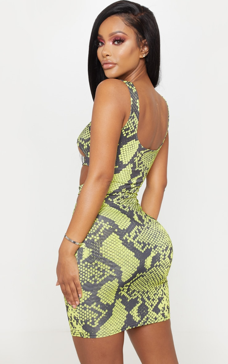 Shape Neon Lime Snake Slinky Buckle Detail Cut Out Bodycon Dress 2