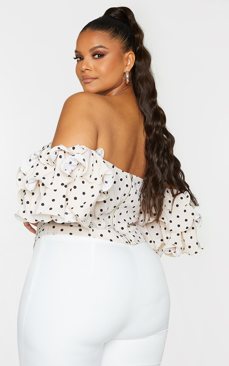 Plus Cream Polka Dot Ruffle Puff Sleeve Bardot Crop Top 2