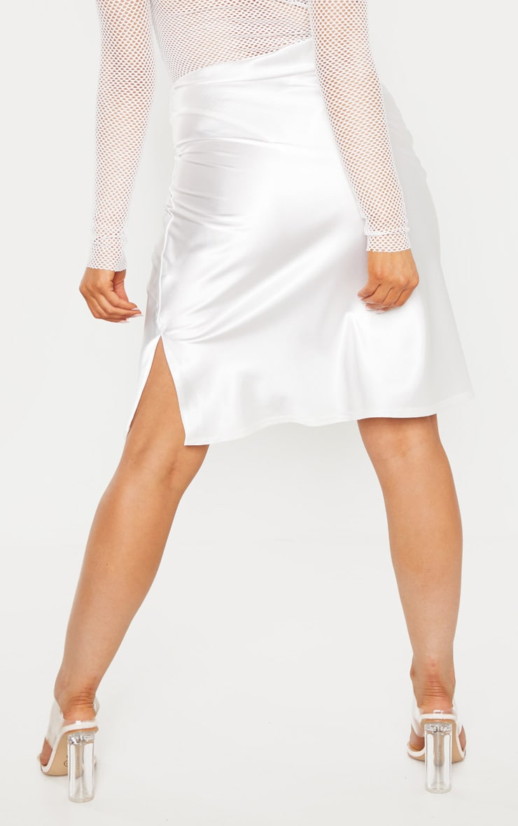 Petite Cream Satin Slip Skirt  3