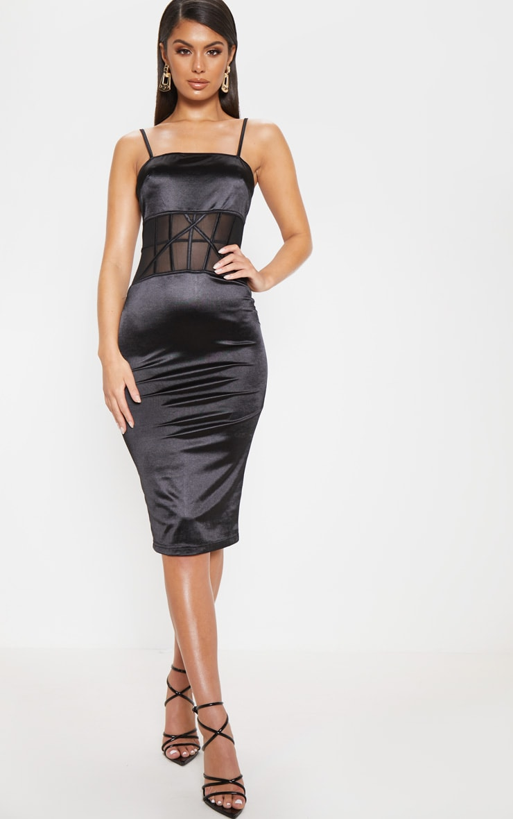 Black Satin Mesh Panel Midi Dress 1
