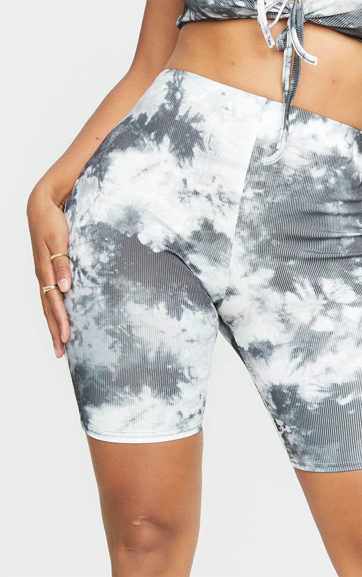 Shape - Short-legging côtelé noir imprimé tie & dye 5