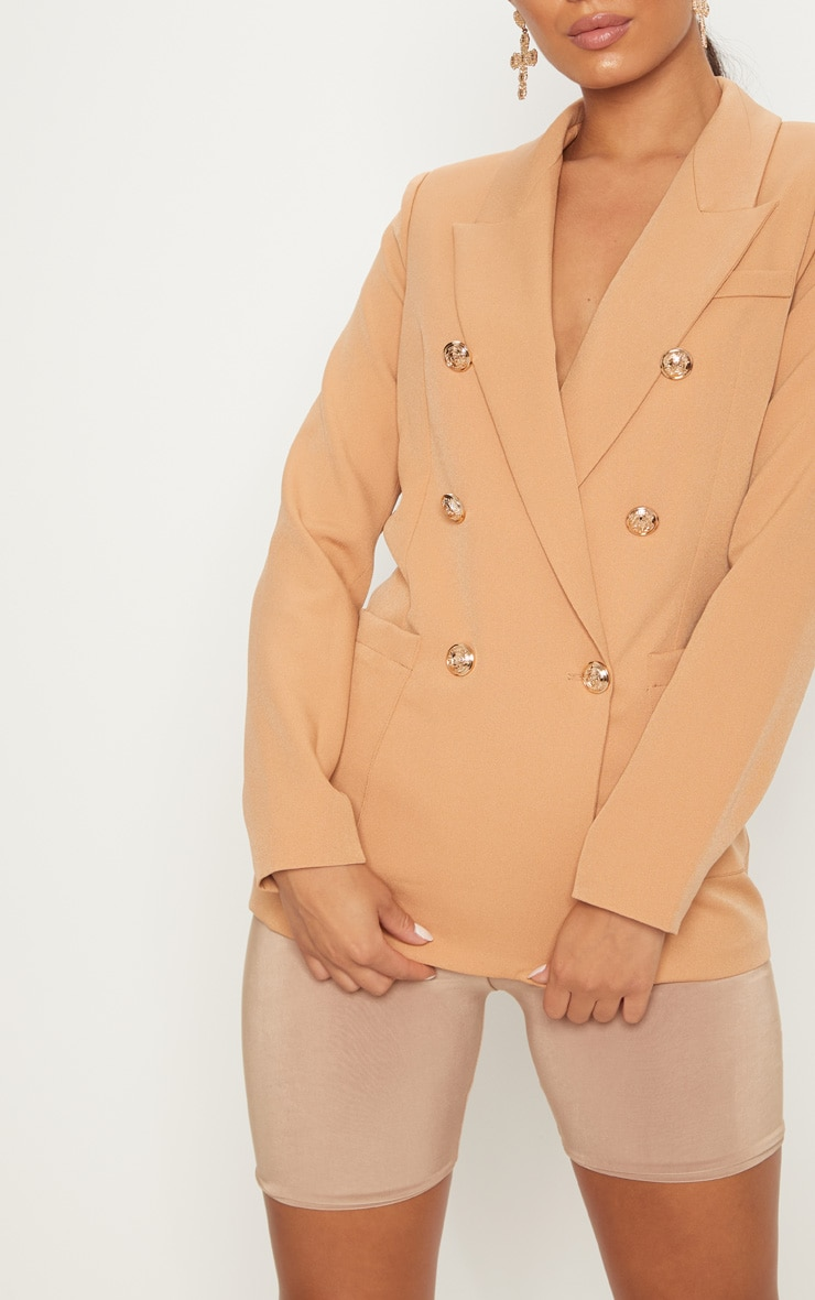 Pari Camel Double Breasted Military Blazer 5