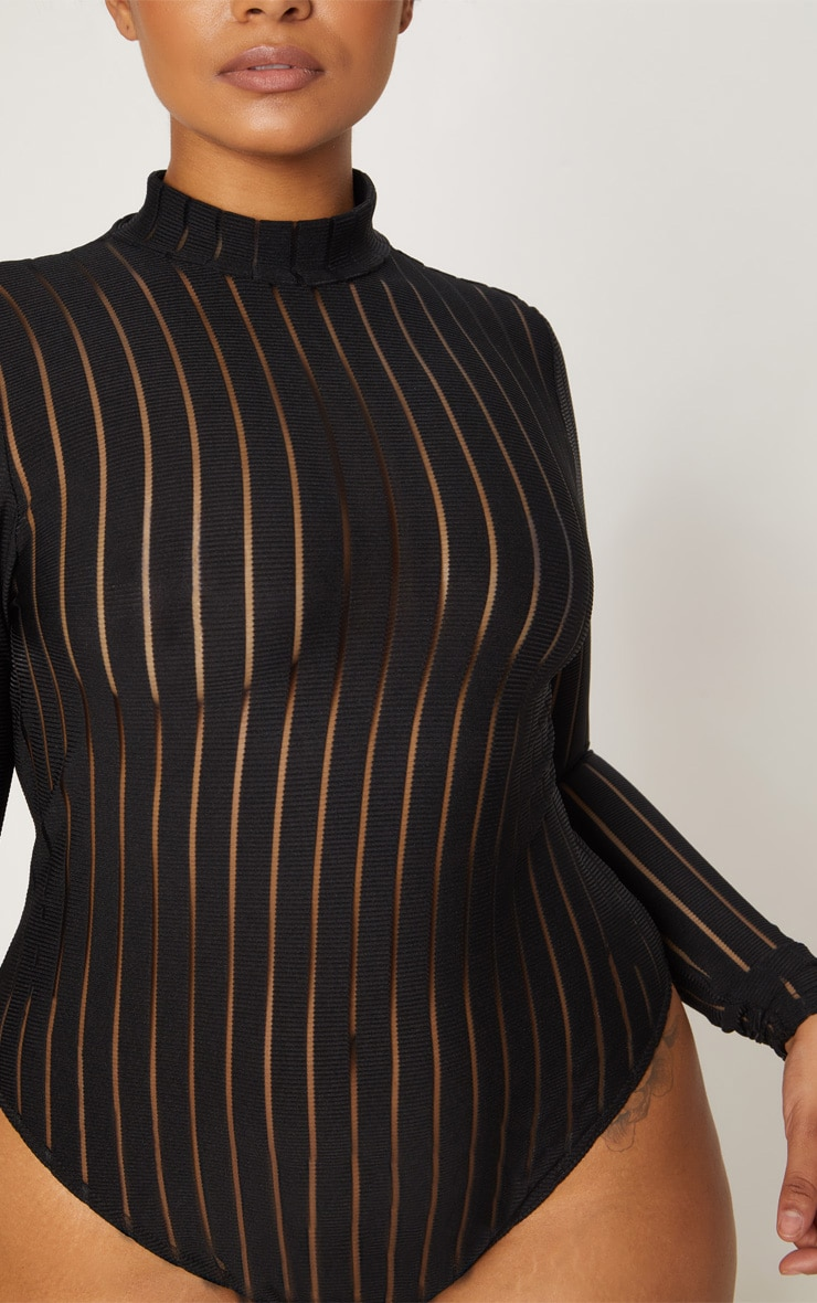 Plus Black Burn Out Striped Mesh Bodysuit 6