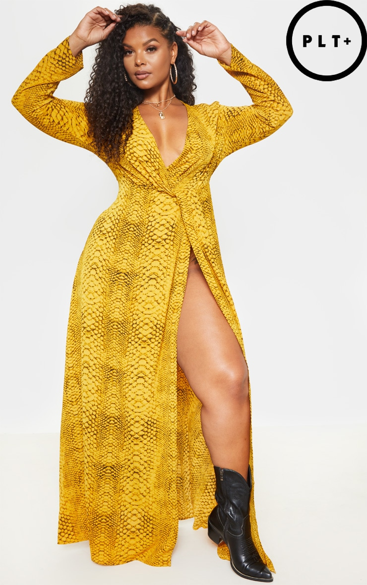 Plus Yellow Snake Twist Detail Maxi Dress 4