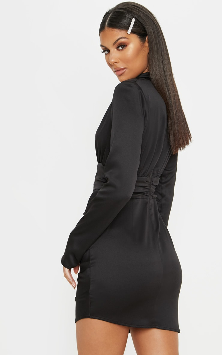 Black Satin High Neck Ruched Shift Dress 2