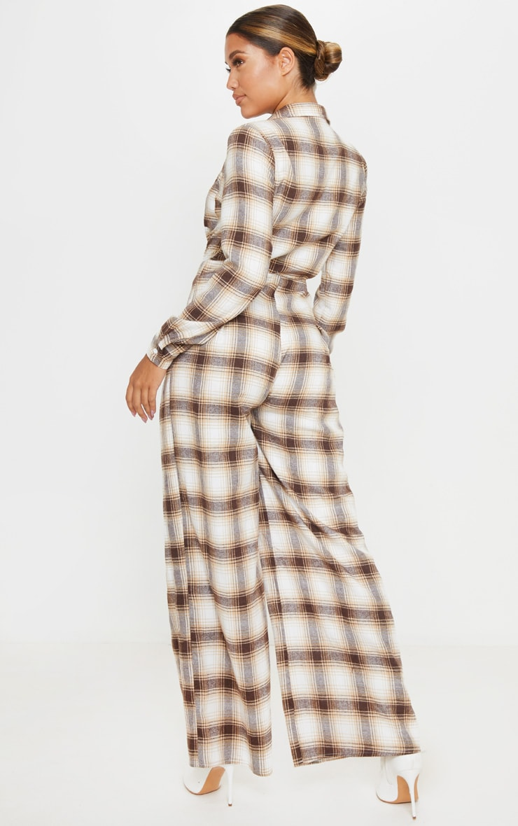 Beige Checked Oversized Wide Leg Jumpsuit 2