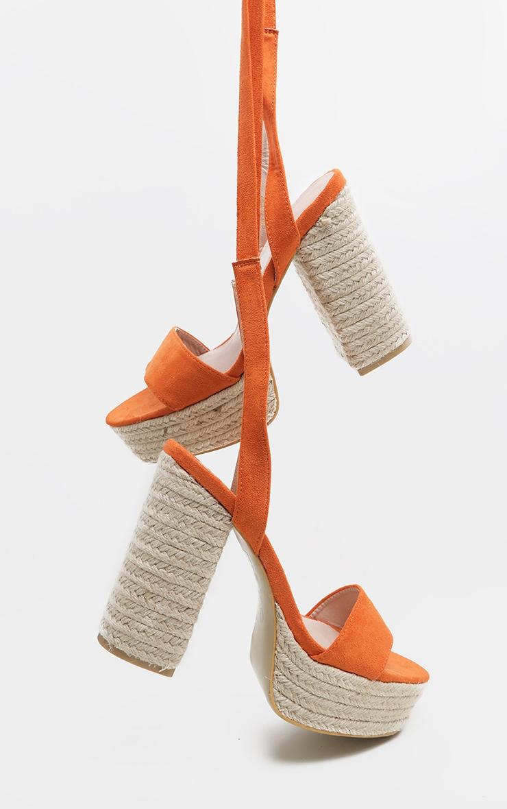 Orange Double Platform Espadrille Leg Tie Sandal  2