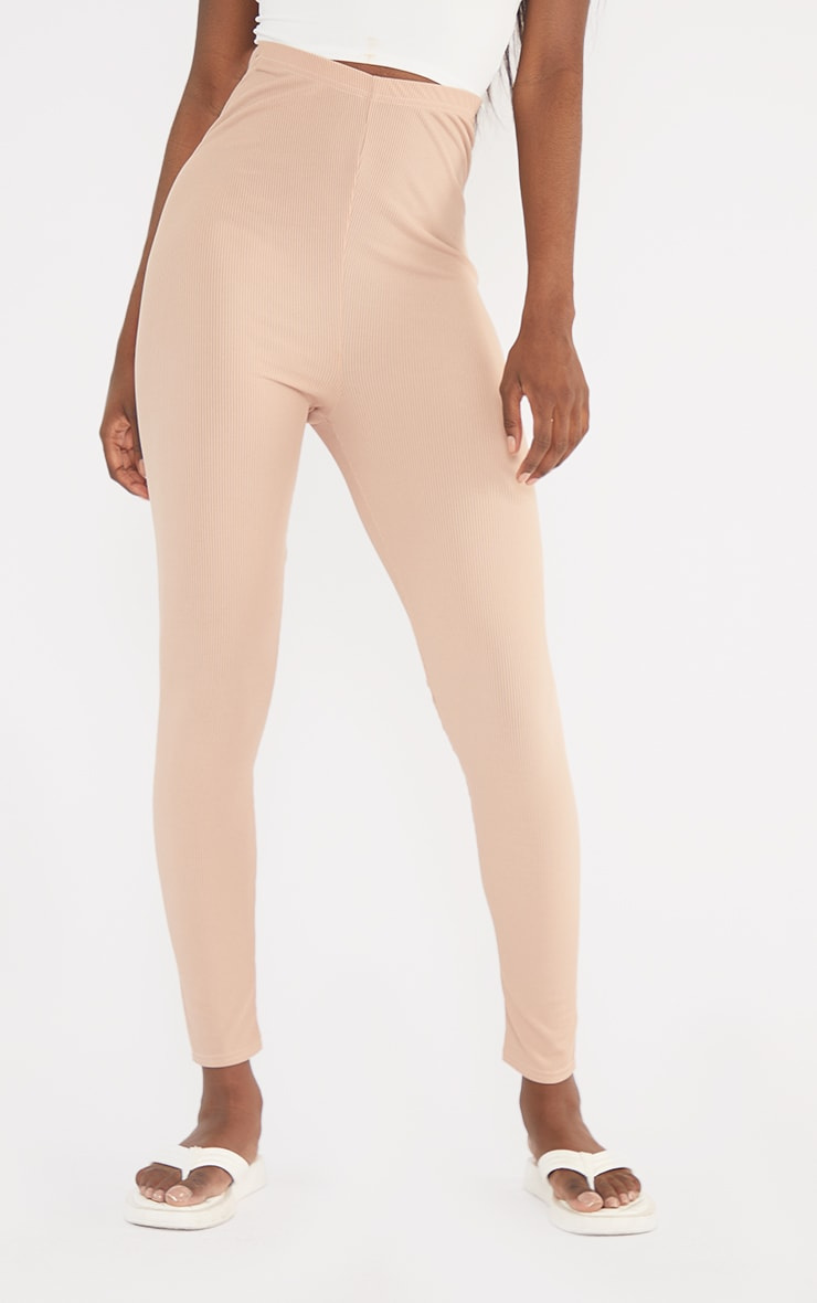 Tall  Pink Ribbed Ruched Bum Leggings 2