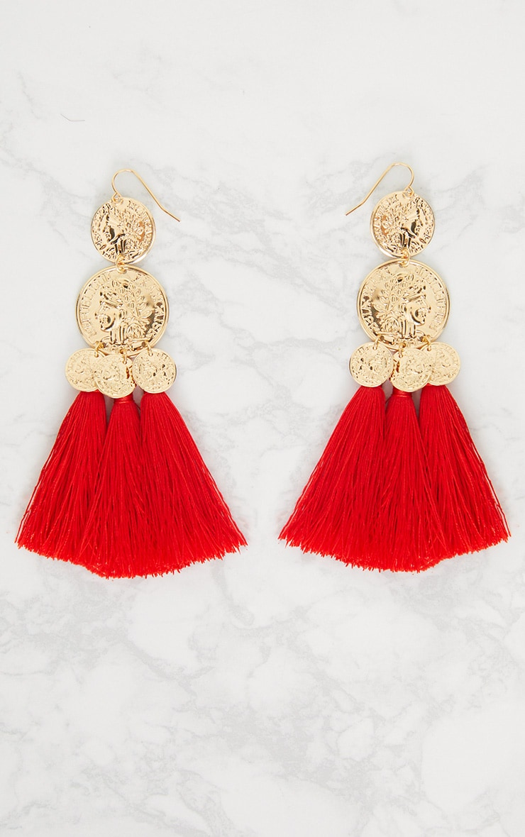 Red Coin Drop Tassel Earrings 3