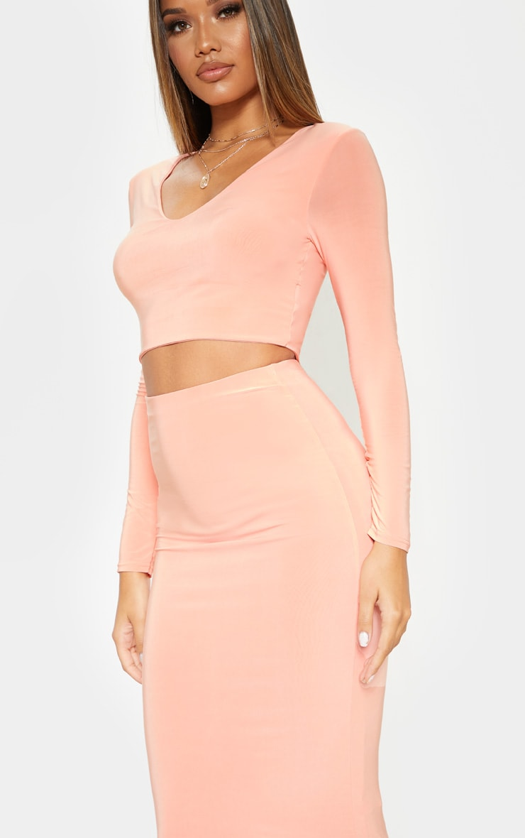 Peach Second Skin Long Sleeve V Neck Crop Top 5