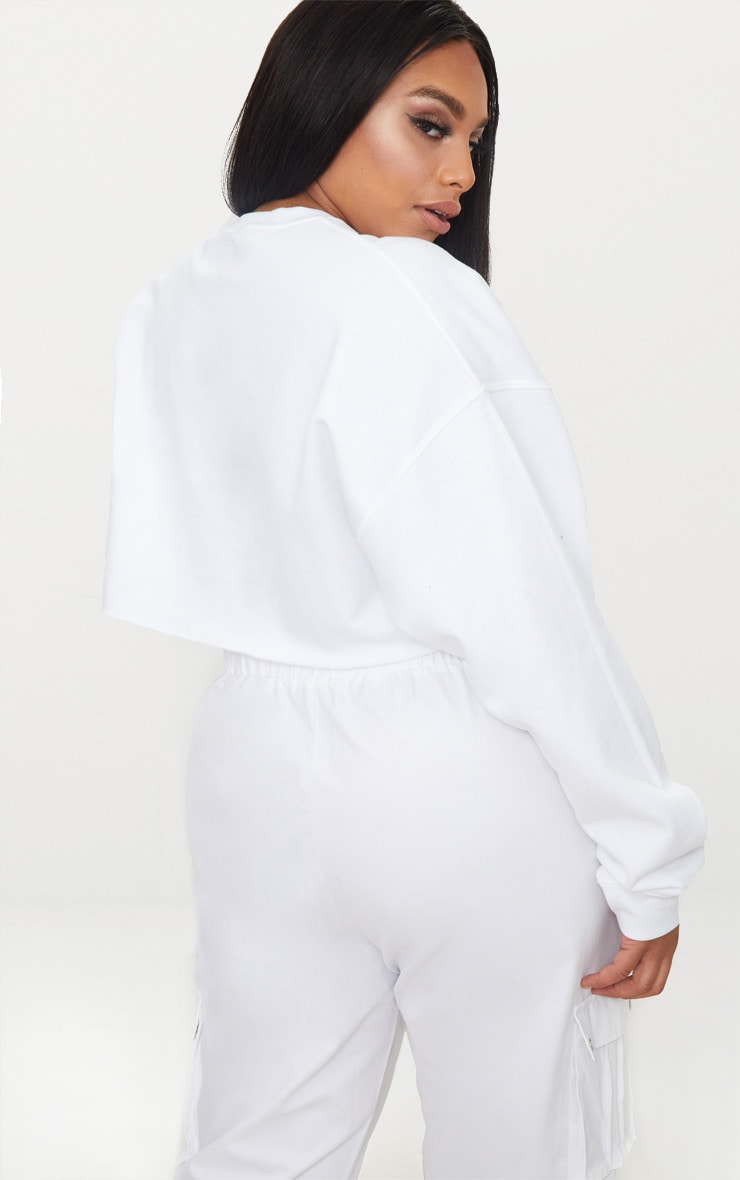 Plus White Lamour Cropped Sweater  2
