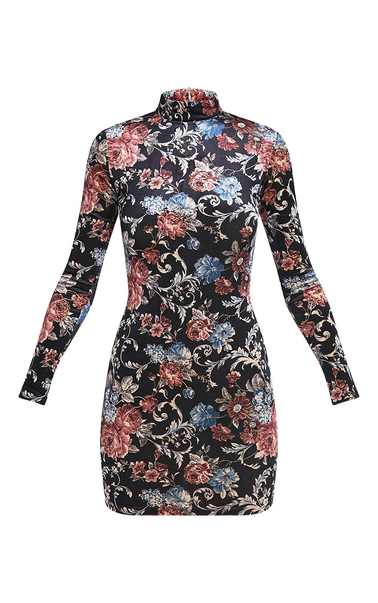 Kirah robe moulante noire en velours col montant à imprimé floral 3