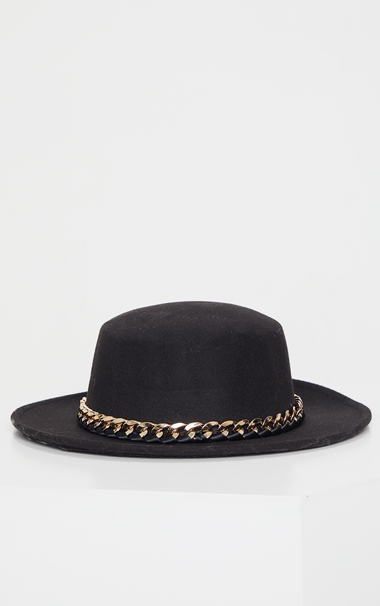 Black Chain Trim Bowler Hat 2