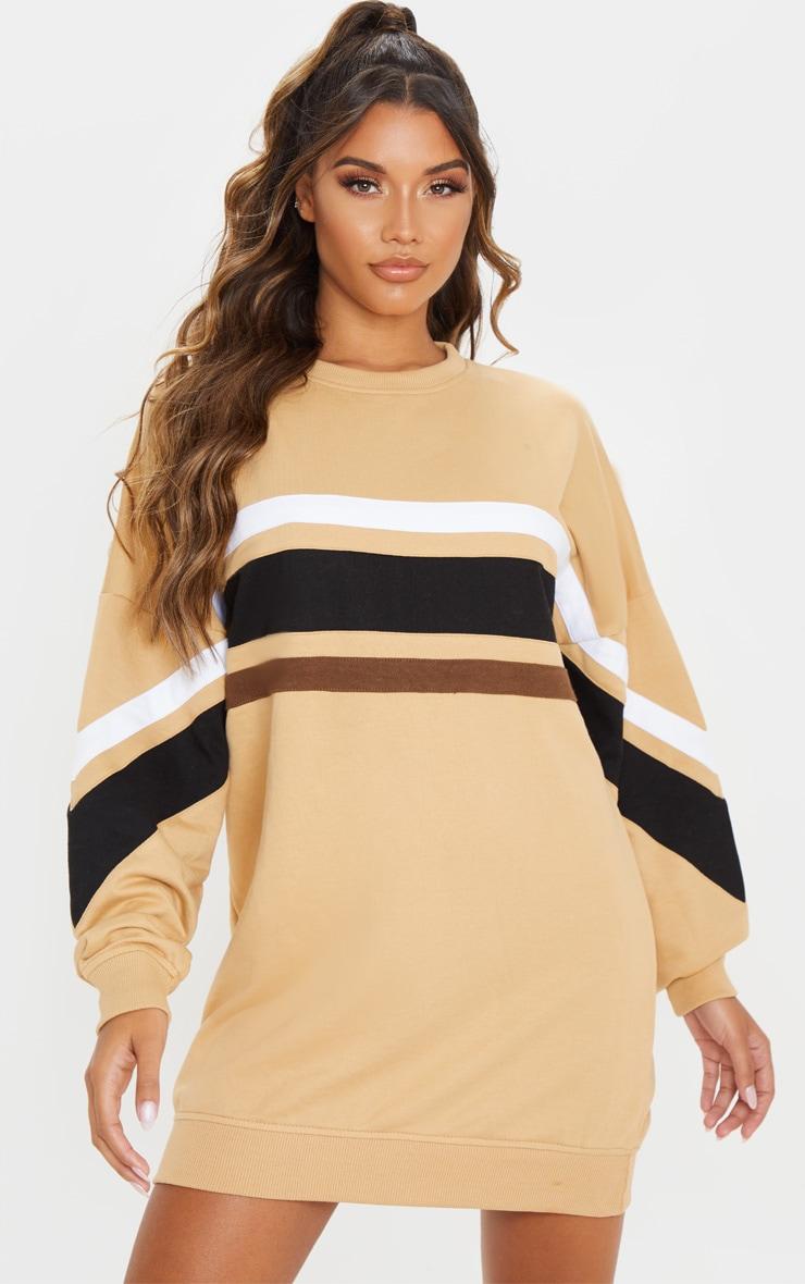 Biscuit Contrast Stripe Detail Sweat Dress 1