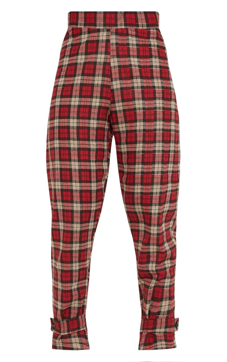 Red Check Peg Leg Pants 3