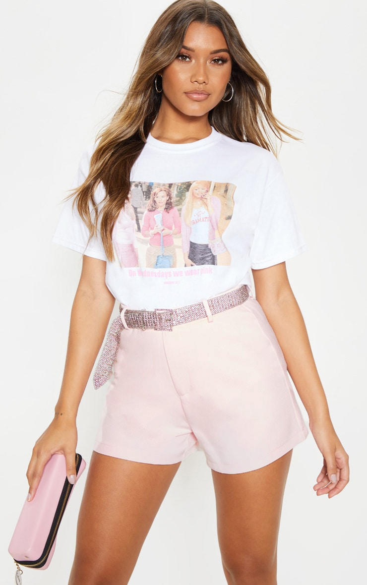 White Mean Girls Wear Pink Slogan T Shirt 1