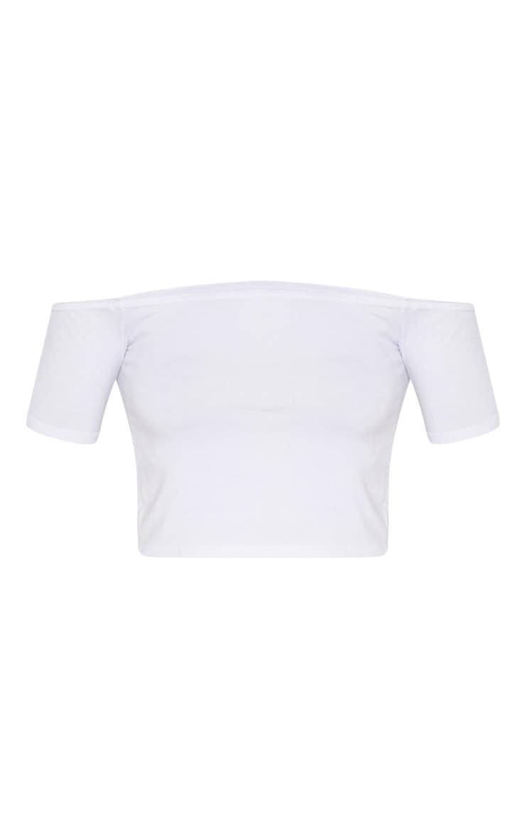 Basic White Bardot Crop Top 3
