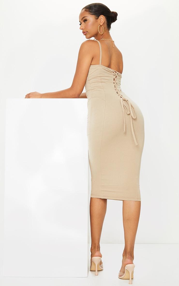 Stone Cotton Underbust Binding Lace Back Midi Dress 1