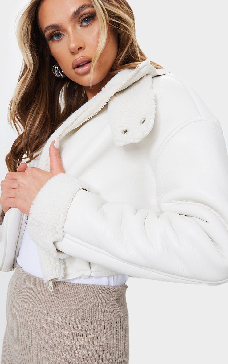 Cream Faux Leather Borg Lined Super Cropped Aviator Jacket 4