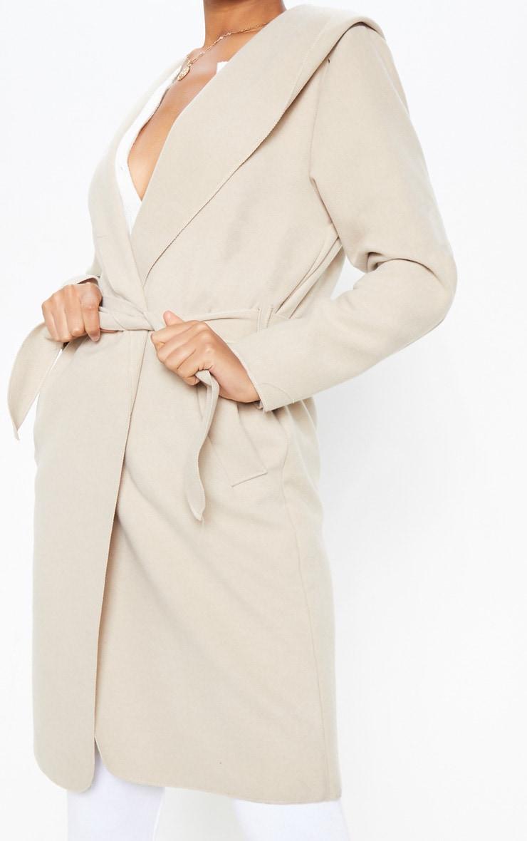 Manteau cascade gris pierre à capuche 5
