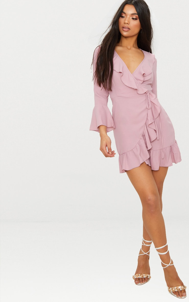 Ilisha Dusty Pink Frill Tea Dress  4