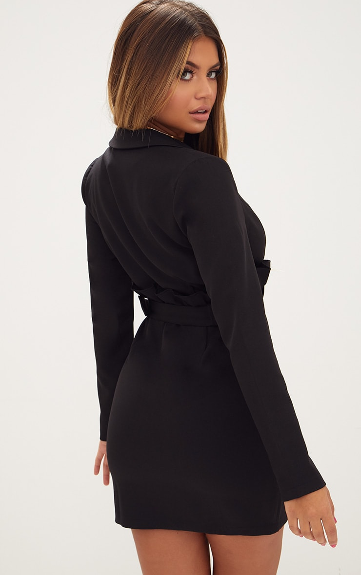 Black Frill Waist Belted Blazer Dress 2