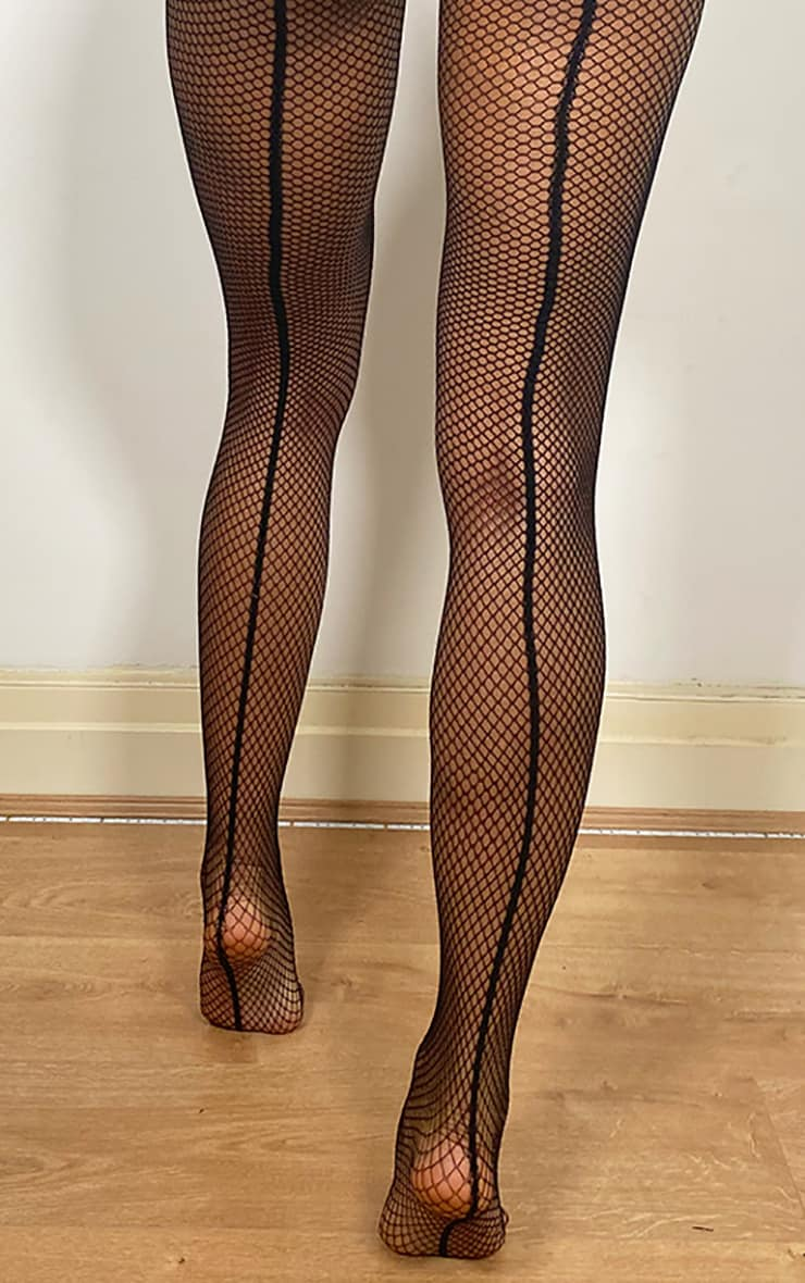 Black Fishnet Seamed Tights 1