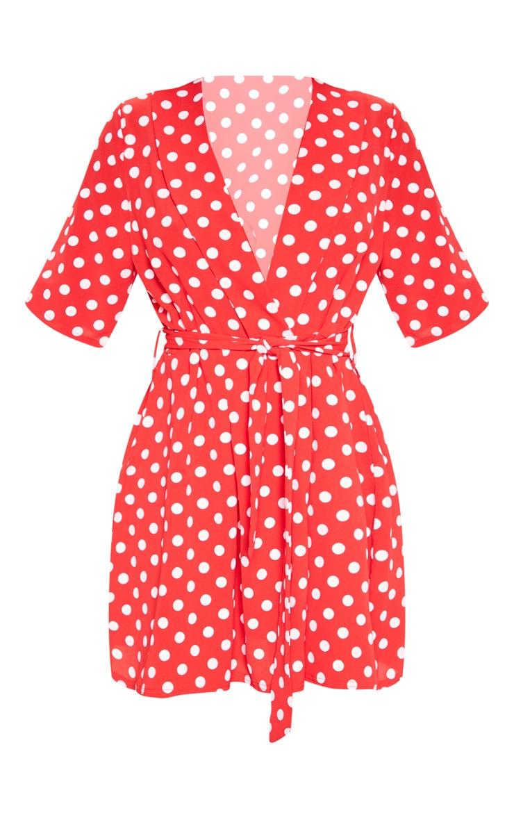 Red Polka Dot Short Sleeve Tie Waist Tea Dress 3