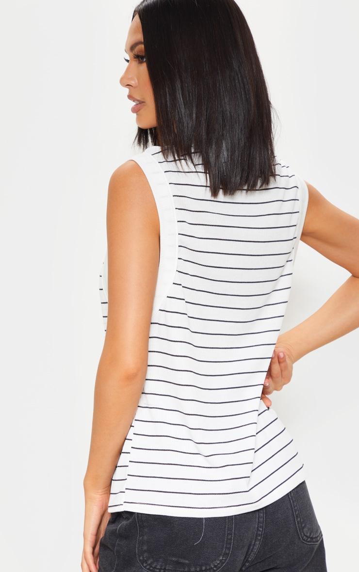 Mono Stripe Soft Rib Oversized Casual Vest 2