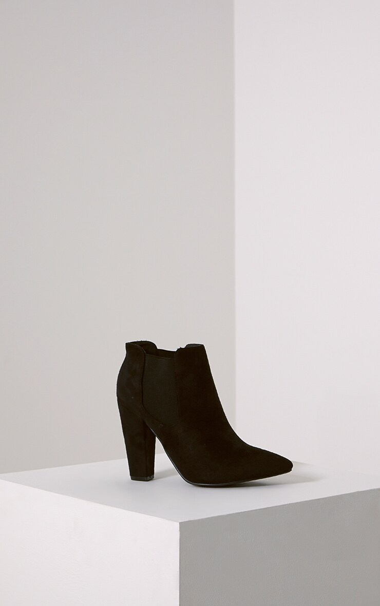 Bridget Black Faux Suede Heeled Chelsea Ankle Boots 3