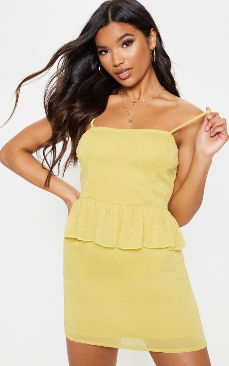 Chartreuse Dobby Mesh Cup Detail Skater Dress 4