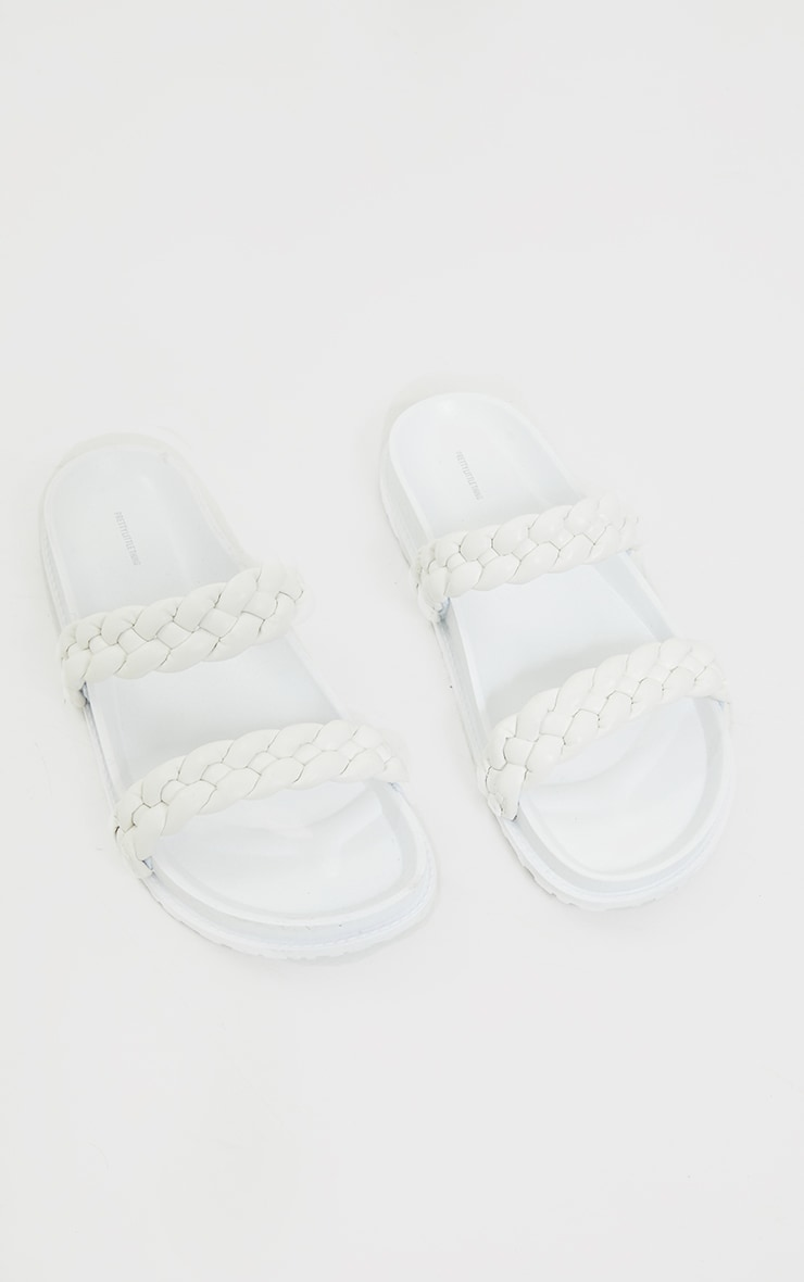 White PU Chunky Platted Twin Strap Footbed Sandals 3
