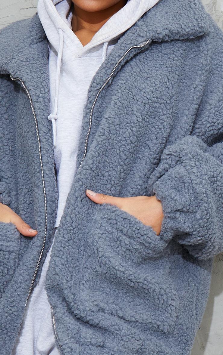 Grey Oversized Borg Pocket Front Coat 4