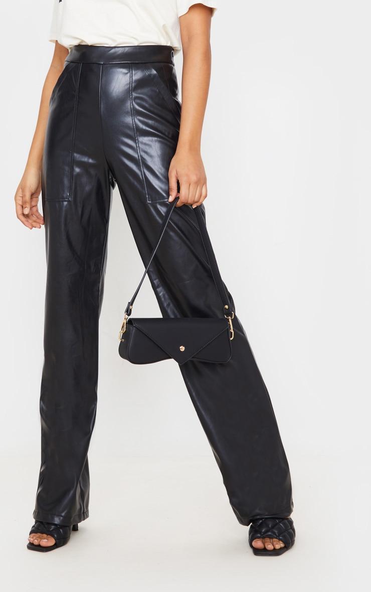 Black Pocket Detail Faux Leather Straight Leg Pants 2