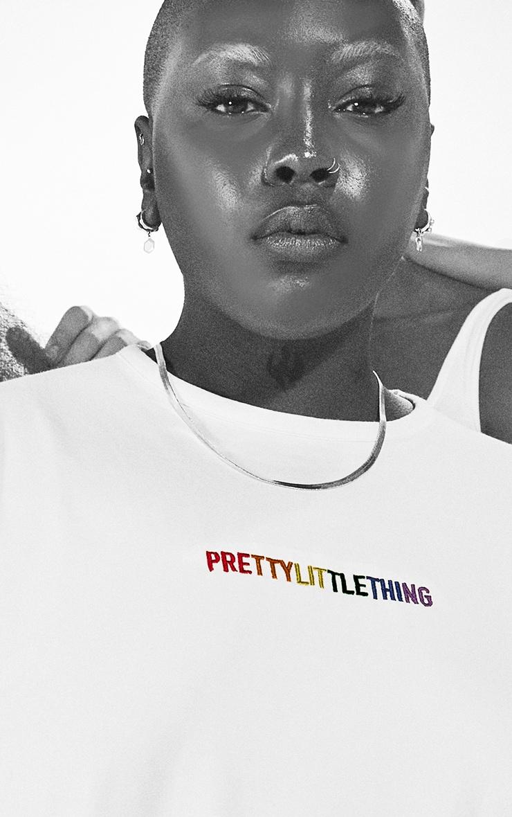 PRETTYLITTLETHING Plus White Pride T Shirt Dress 4