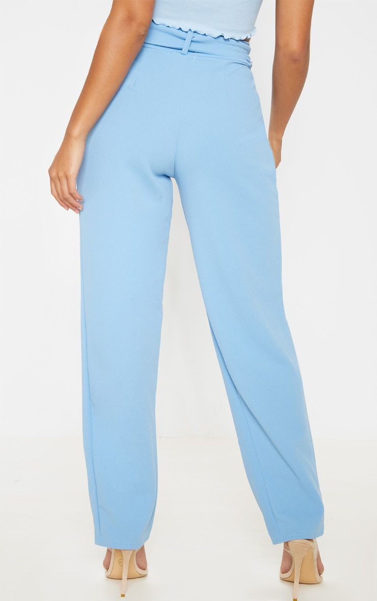 Petite Baby Blue Belted Straight Leg Trouser 3