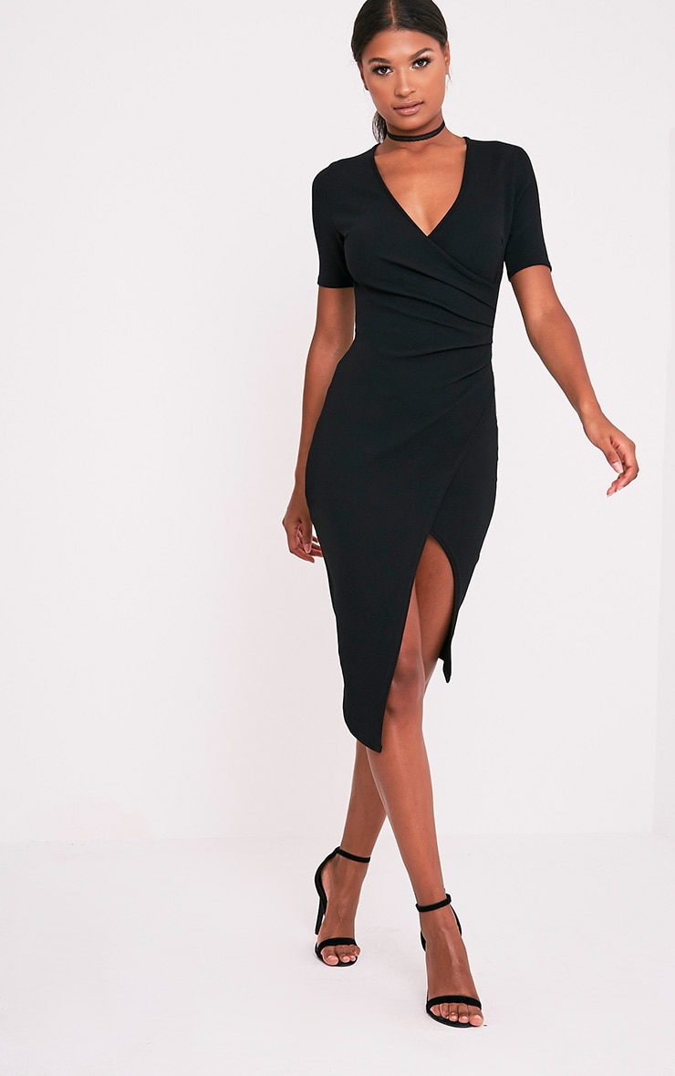 Ivie Black Short Sleeve Wrap Front Midi Dress 1