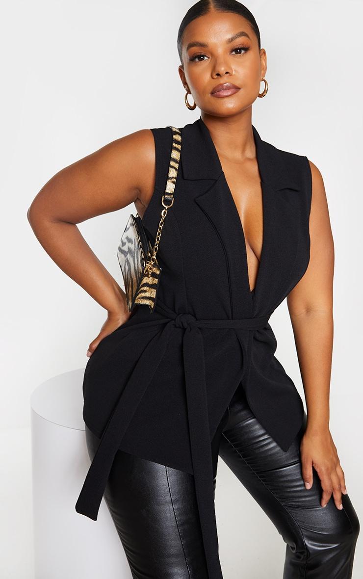 Plus Black Sleeveless Belted Blazer 1