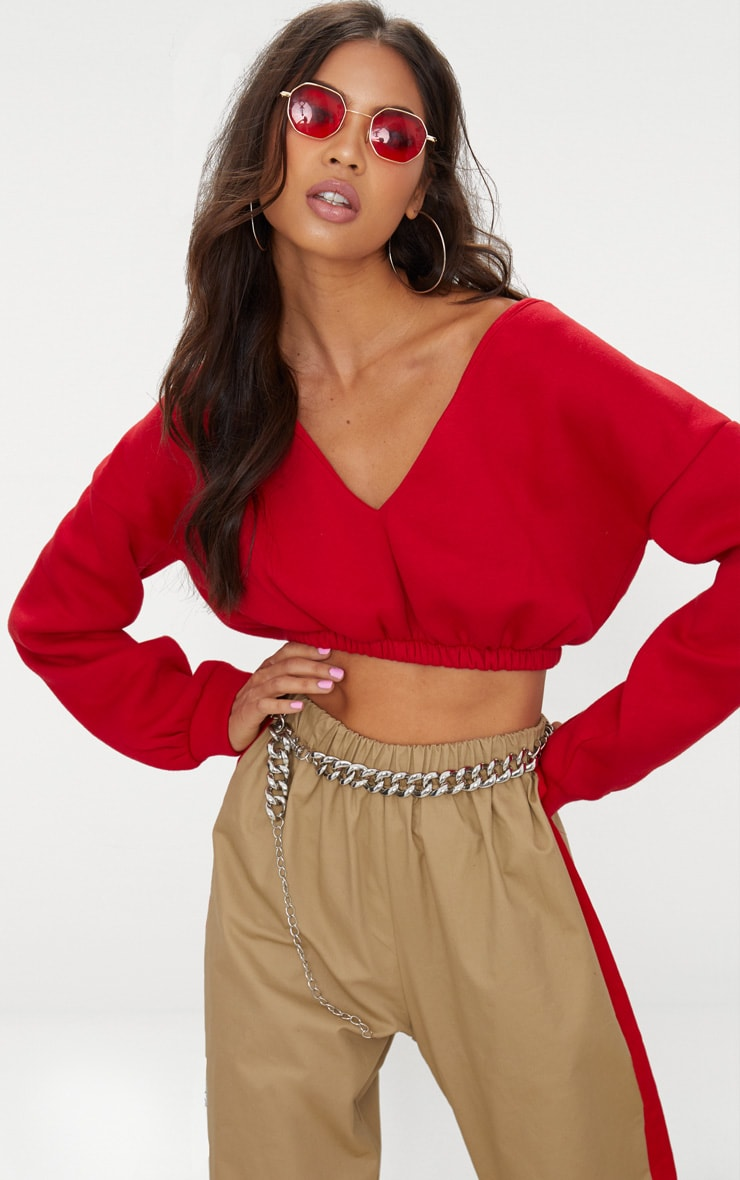 Red Crop Off Shoulder Sweater Tops Prettylittlething