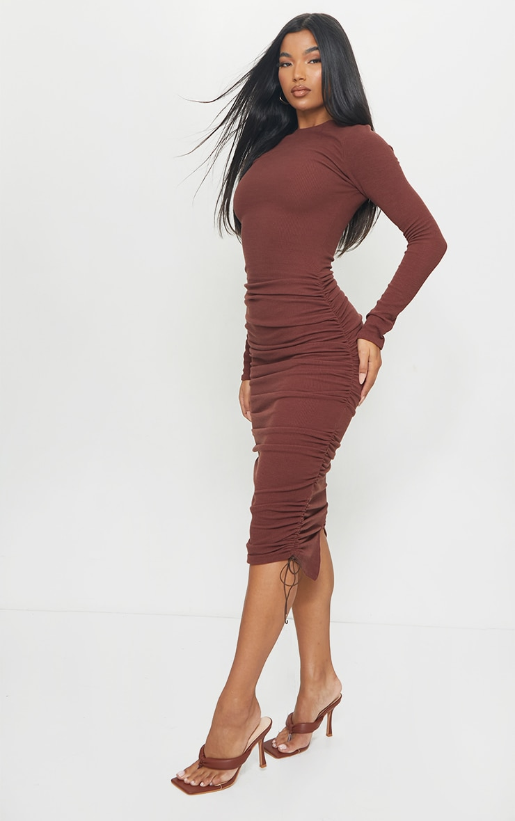 Chocolate Brown Ribbed Long Sleeve Ruched Midi Dress 3
