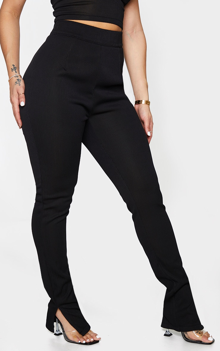 Shape Black Wide Rib High Waist Split Hem Pants 2
