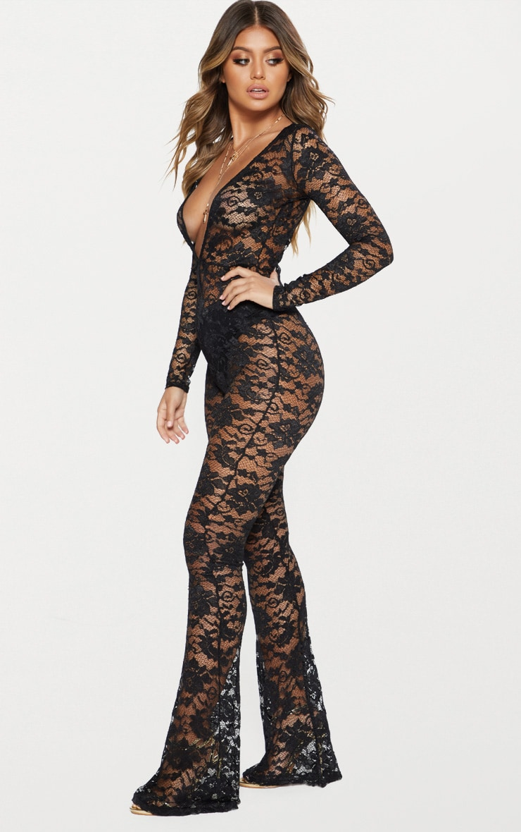 Black Lace Plunge Front Jumpsuit 3