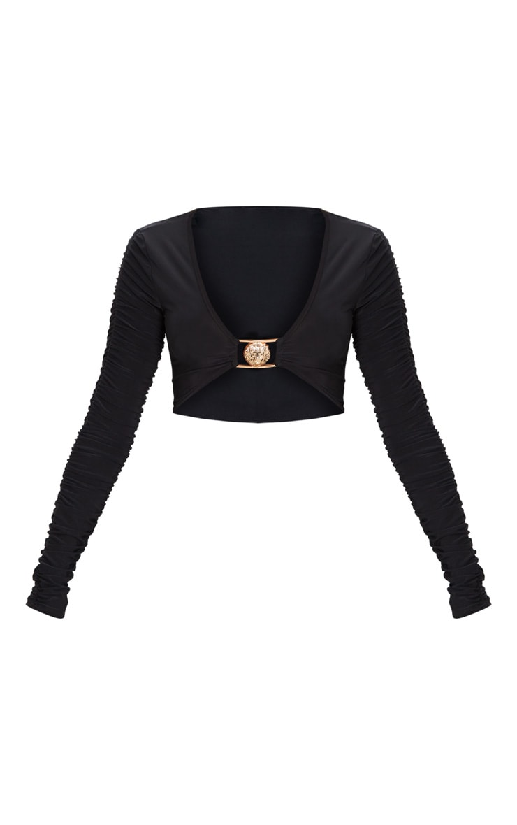 Black Lion Clasp Slinky Ruched Long Sleeve Crop Top  2