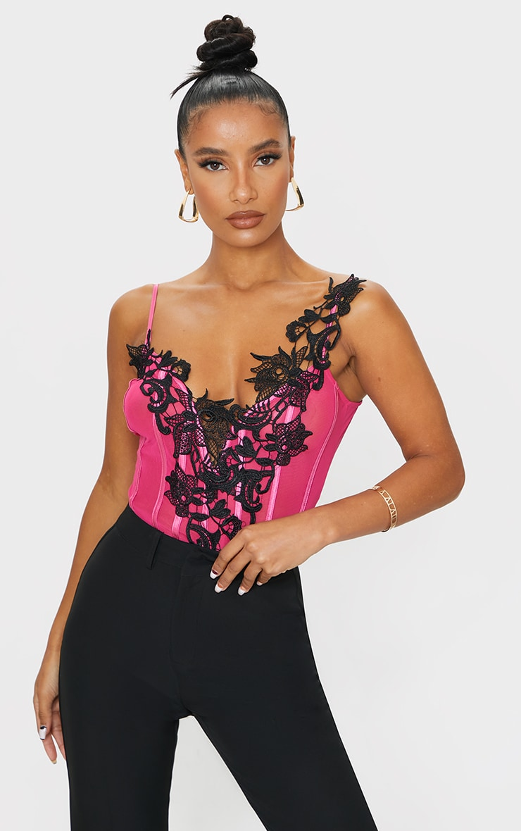 Hot Pink Mesh Embroidered Lace Detail Plunge Bodysuit 1