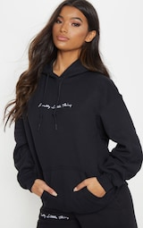 PRETTYLITTLETHING Black Embroidered Oversized Hoodie 1