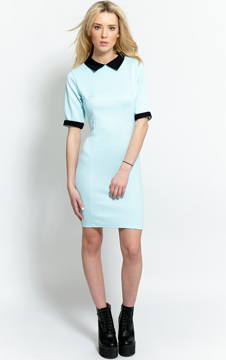 Katrina Baby Blue Collar Dress 4